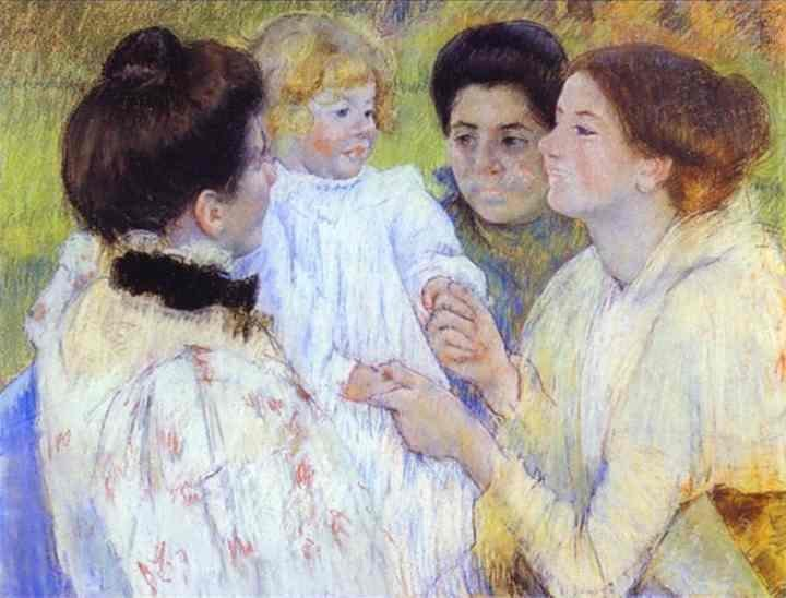 Women Admiring a Child 1897 | Mary Cassatt | Oil Painting