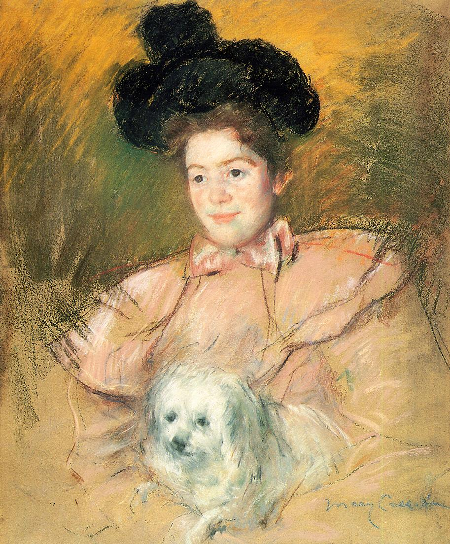 Woman in Raspberry Costume Holding a Dog 1900 | Mary Cassatt | Oil Painting