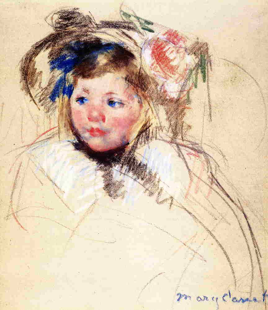 Head of Sara in a Bonnet Looking Left 1901 | Mary Cassatt | Oil Painting
