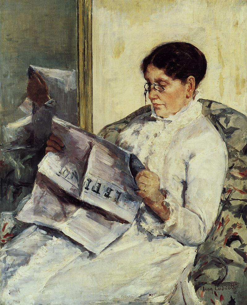 Portrait of a Lady (aka Reading 'Le Figaro') 1878   Mary Cassatt   Oil Painting