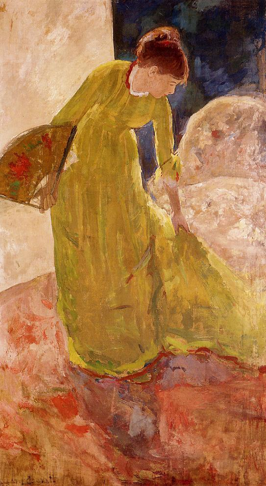 Woman Standing Holding a Fan 1878-1879 | Mary Cassatt | Oil Painting