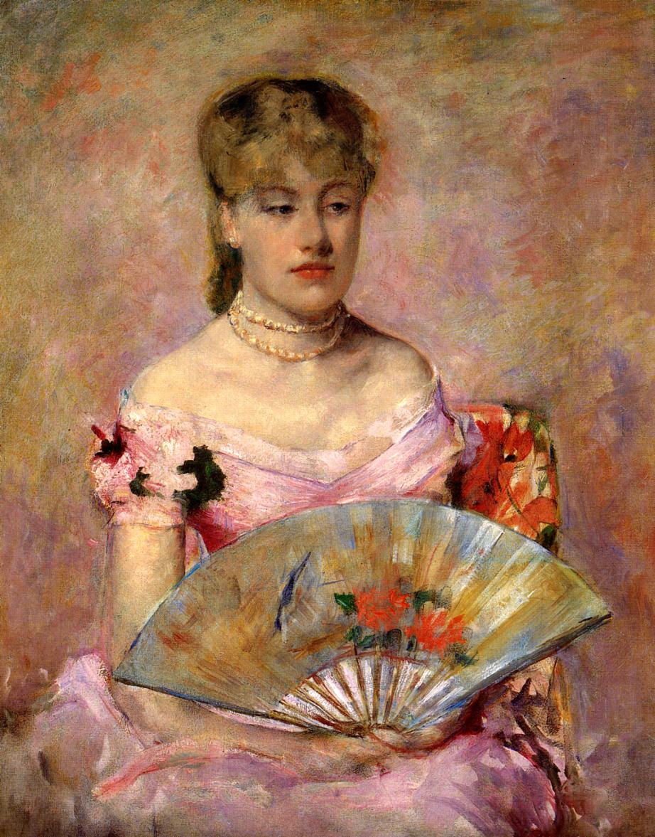 Lady with a Fan (aka Portrait of Anne Charlotte Gaillard) 1880 | Mary Cassatt | Oil Painting