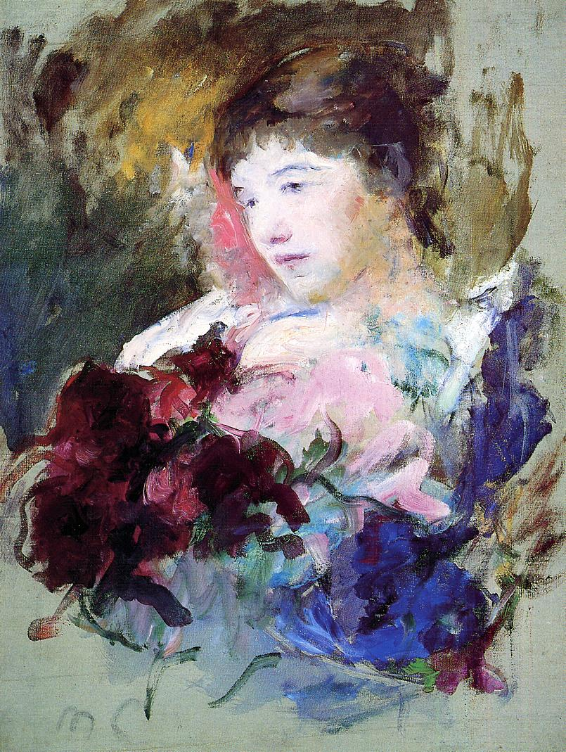 Young Girl Holding a Loose Bouquet 1880 | Mary Cassatt | Oil Painting