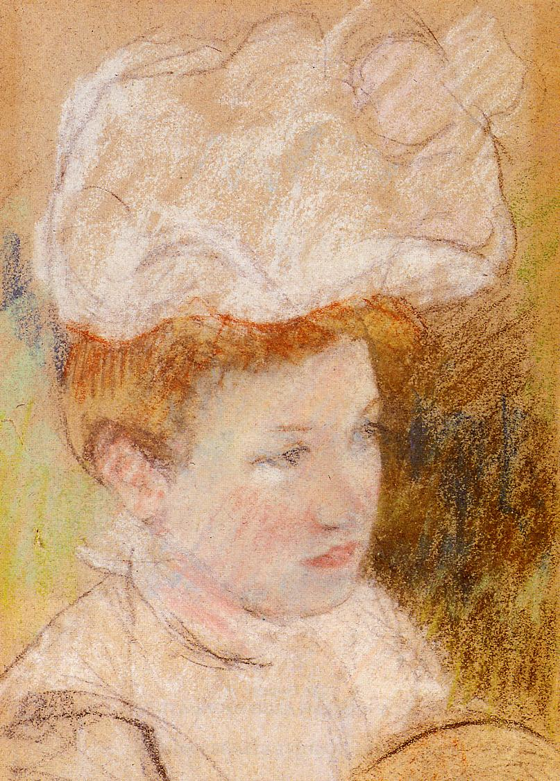 Leontine in a Pink Fluffy Hat 1898 | Mary Cassatt | Oil Painting