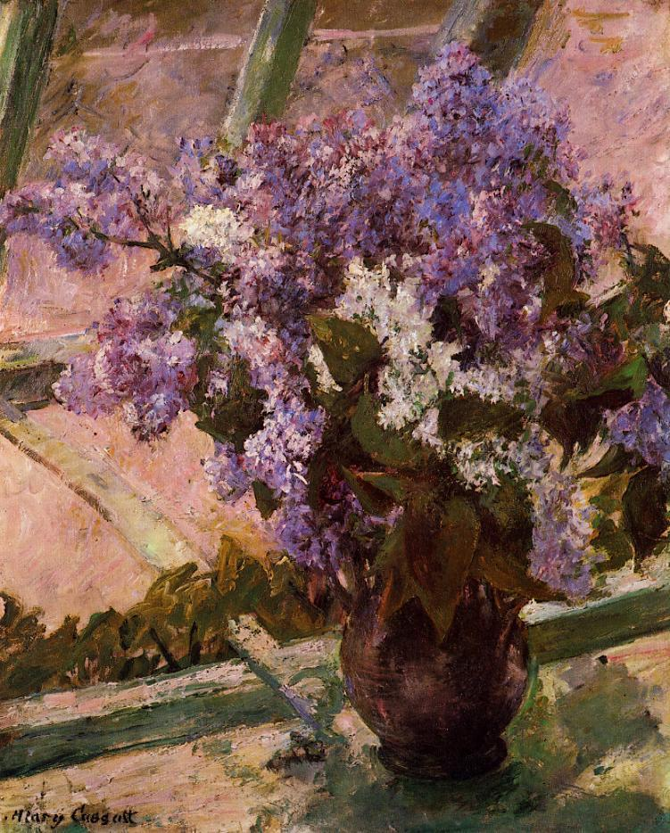 Lilacs in a Window 1889 | Mary Cassatt | Oil Painting