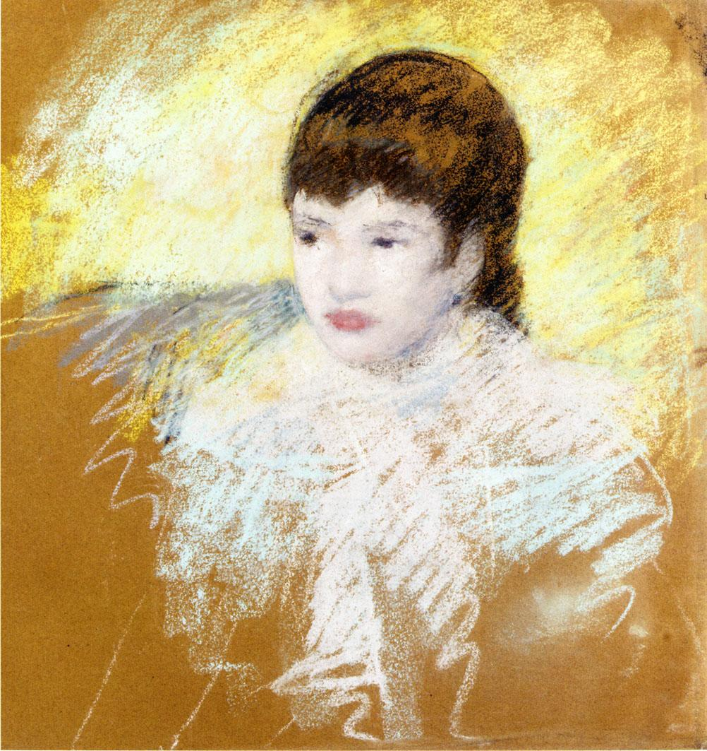 Young Girl with Brown Hair Looking to Left 1880-1886 | Mary Cassatt | Oil Painting