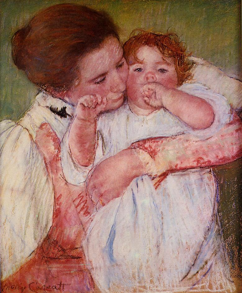Little Ann Sucking Her Finger Embraced by Her Mother 1897 | Mary Cassatt | Oil Painting