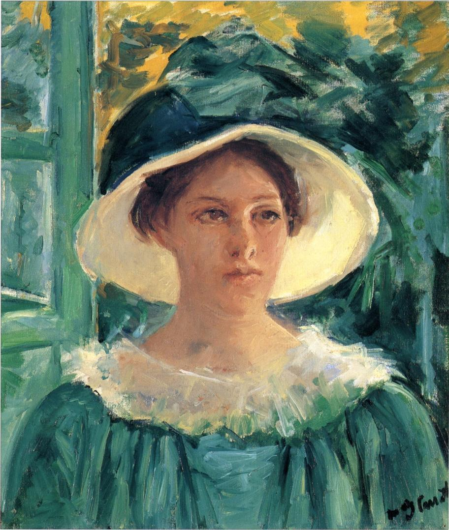 Young Woman in Green Outdoors in the Sun 1914 | Mary Cassatt | Oil Painting
