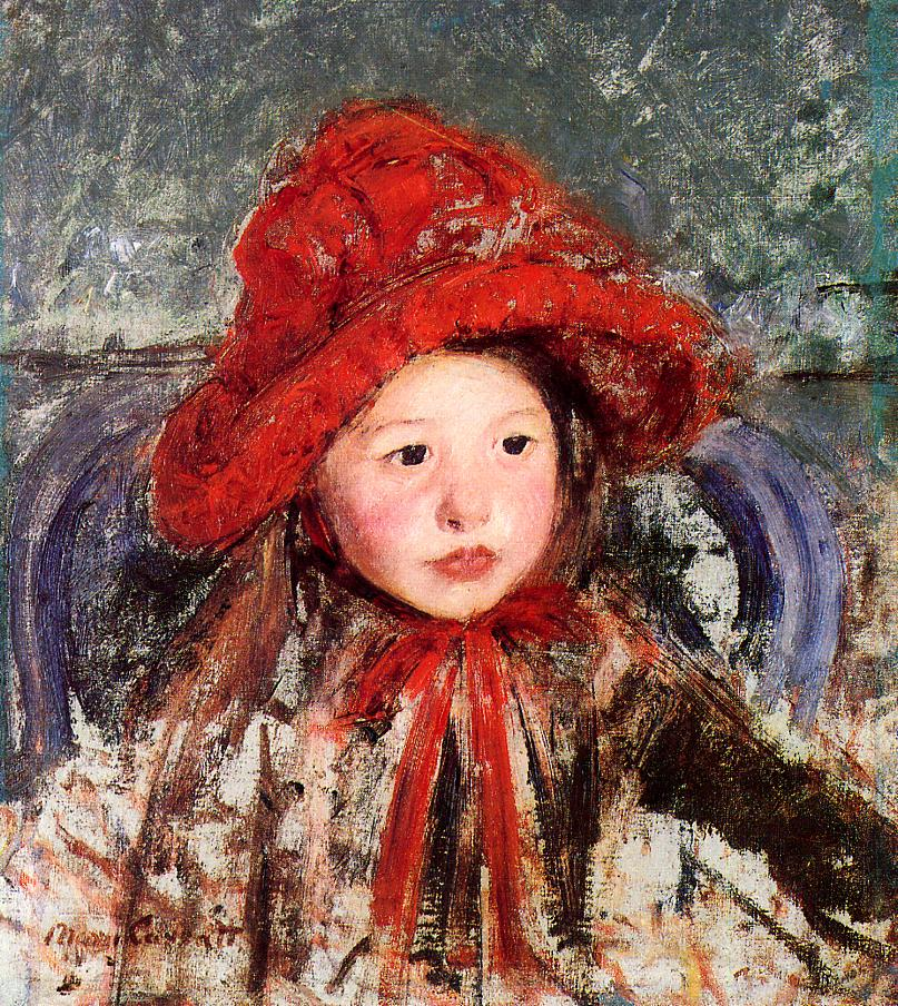 Little Girl in a Large Red Hat 1881 | Mary Cassatt | Oil Painting