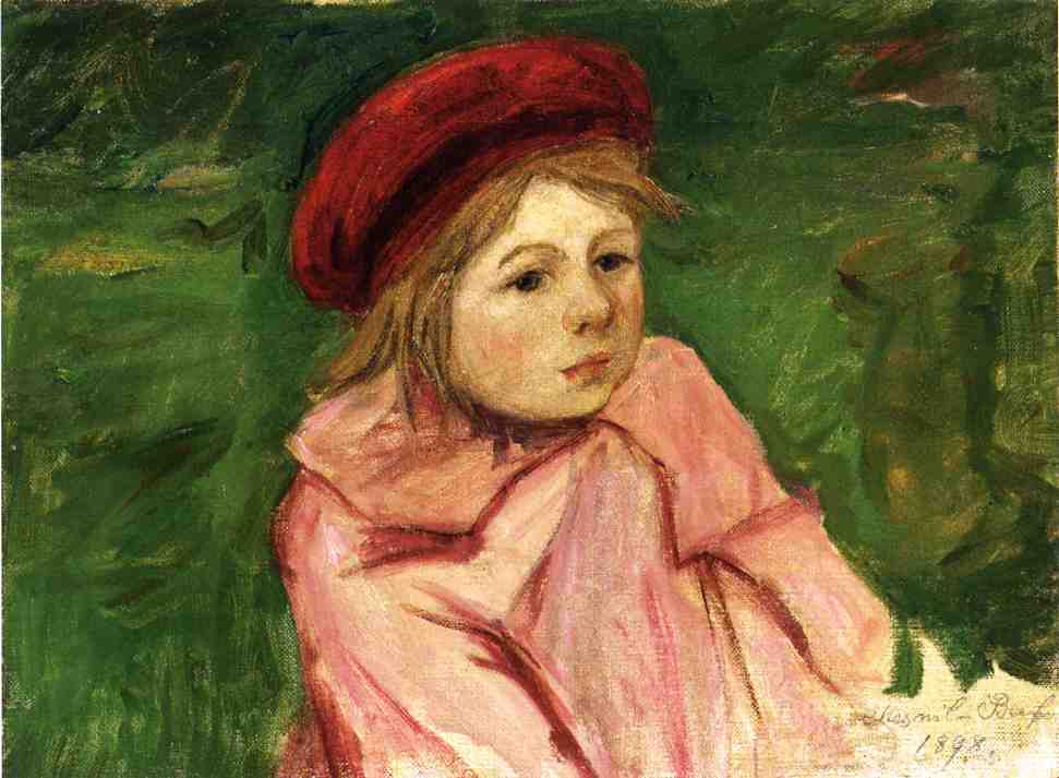 Little Girl in a Red Beret 1898 | Mary Cassatt | Oil Painting