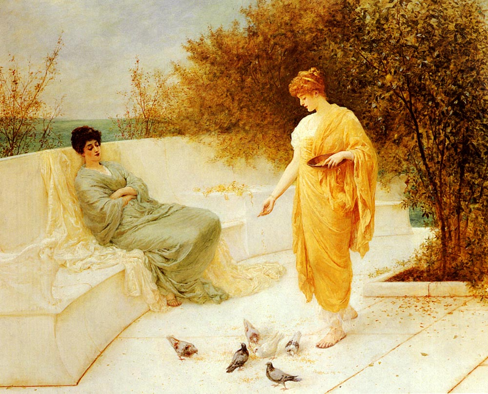 Feeding Doves | Henry Thomas Schafer | Oil Painting