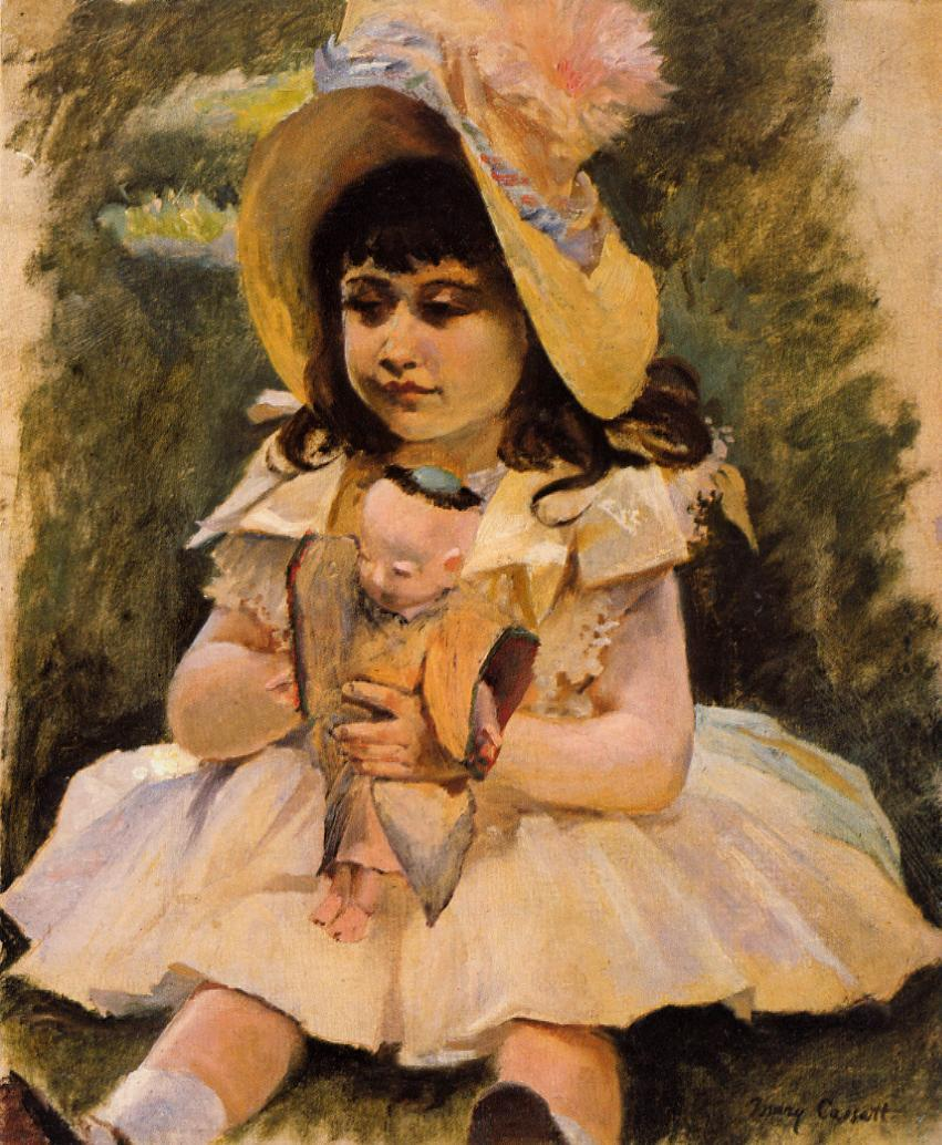 Little Girl with a Japanese Doll 1892 | Mary Cassatt | Oil Painting