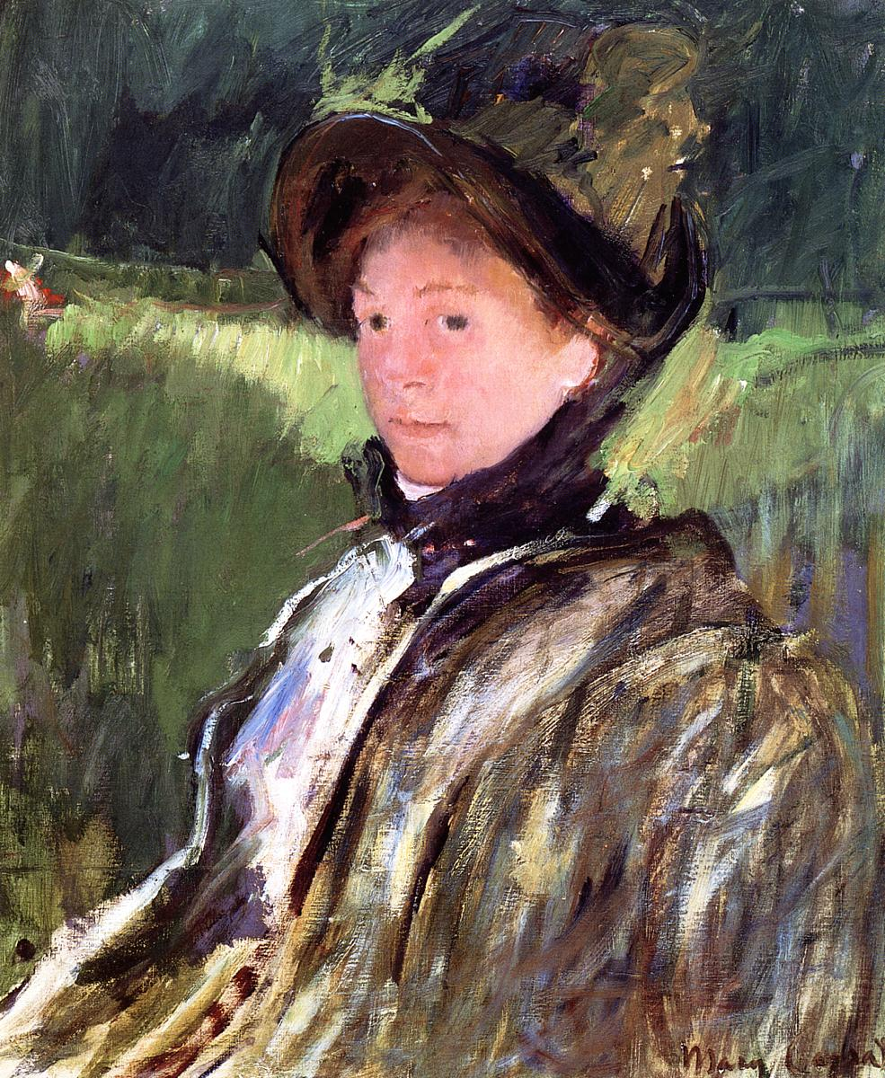 Lydia Cassatt in a Green Bonnet and a Coat 1880 | Mary Cassatt | Oil Painting