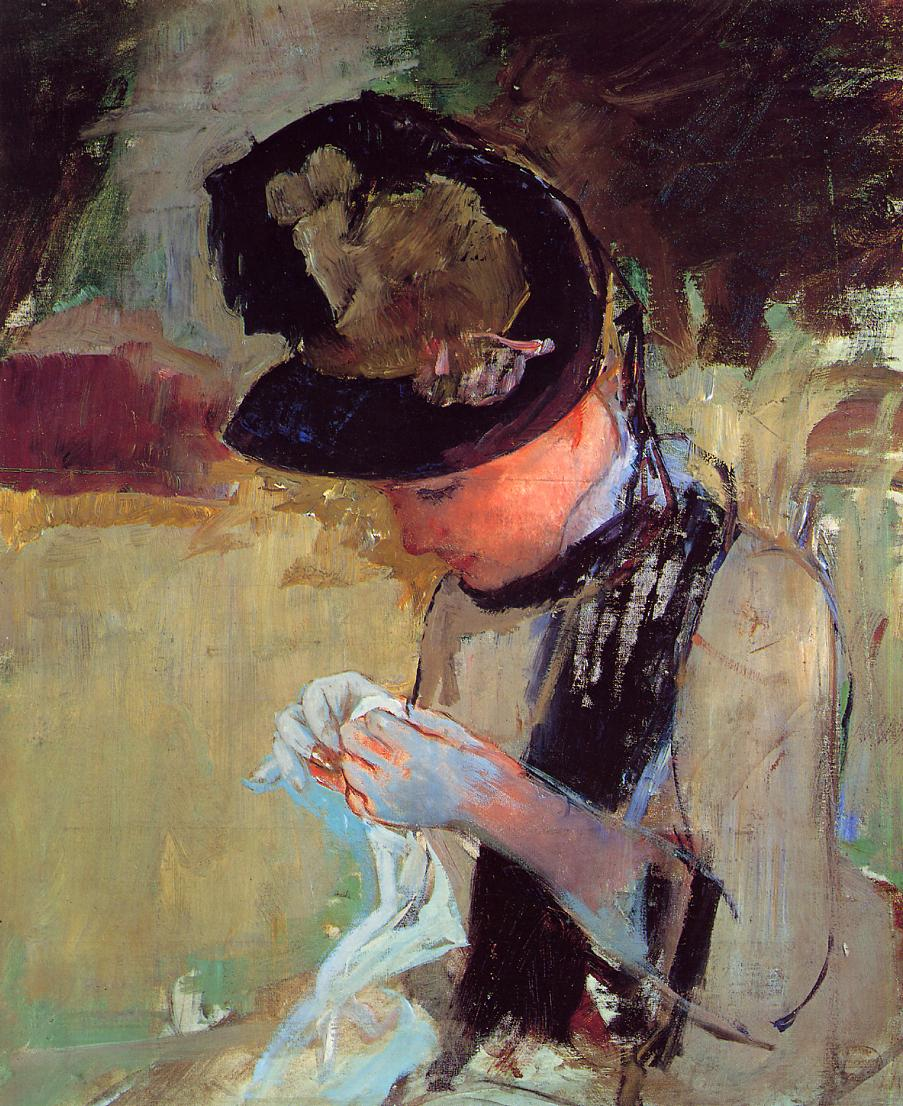 Young Woman Sewing in the Garden 1886 | Mary Cassatt | Oil Painting