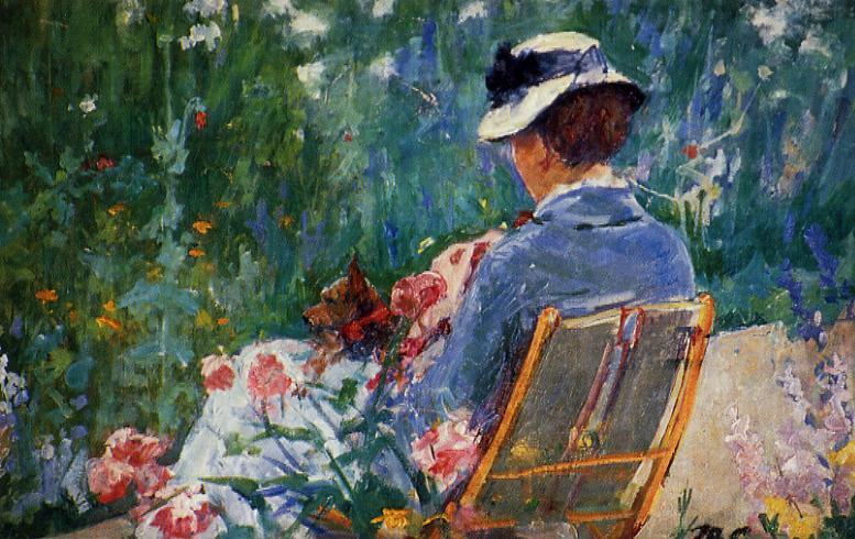 Lydia Seated in the Garden with a Dog in Her Lap 1880 | Mary Cassatt | Oil Painting