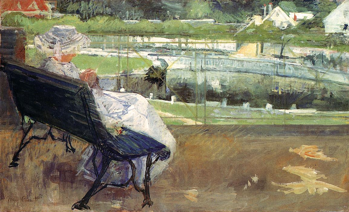Lydia Seated on a Terrace Crocheting 1881-1882 | Mary Cassatt | Oil Painting