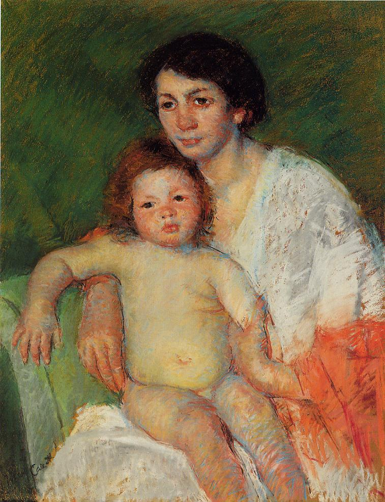 Nude Baby on Mother's Lap Resting Her Arm on the Back of the Chair 1913 | Mary Cassatt | Oil Painting