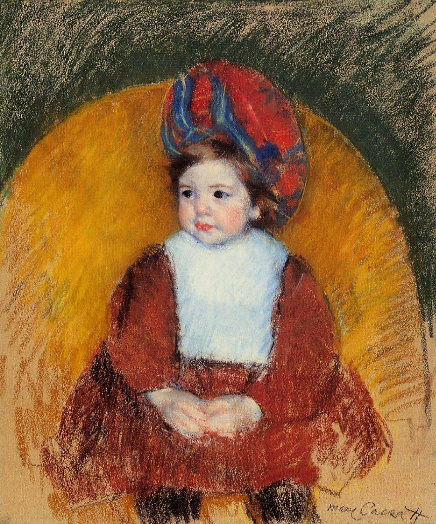 Margot in a Dark Red Costume Seated on a Round Backed Chair 1902 | Mary Cassatt | Oil Painting