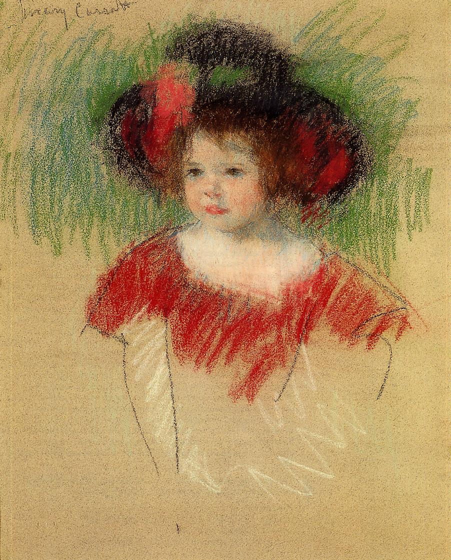 Margot in Big Bonnet and Red Dress 1902 | Mary Cassatt | Oil Painting