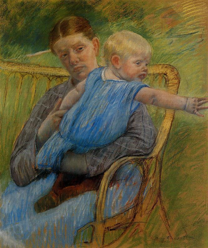Mathilde Holding a Baby Who Reaches out to the Right 1889 | Mary Cassatt | Oil Painting