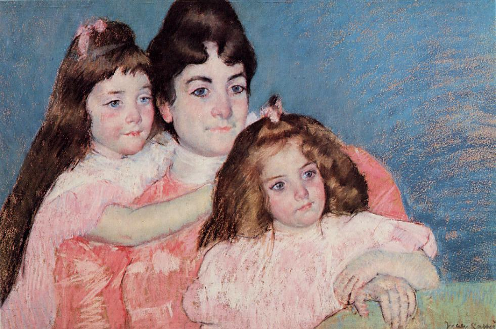 Portrait of Madame A. F. Aude and Her Two Daughters 1899 | Mary Cassatt | Oil Painting