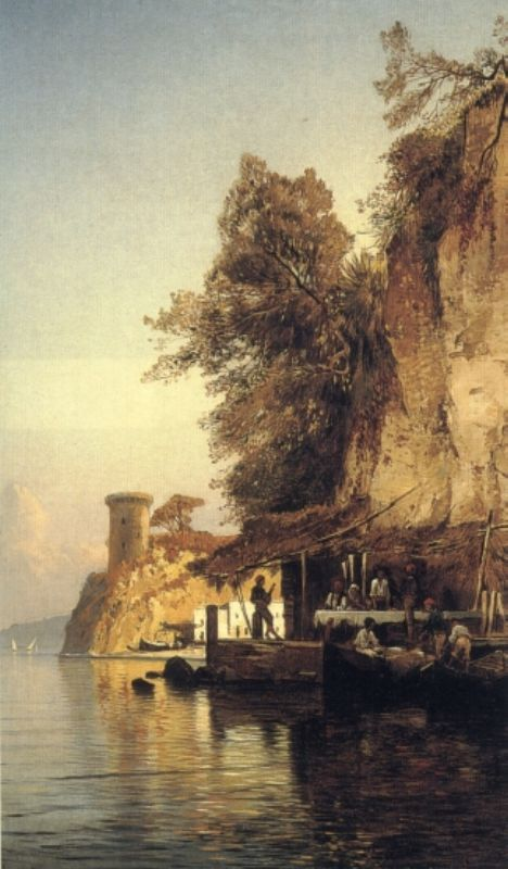 Italian Fisherfold By the Sea Southern Italy | Hermann David Corrodi | Oil Painting