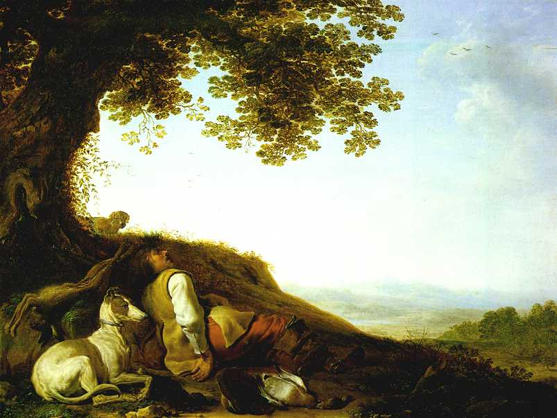 Hunter Sleeping on a Hillside | Herman Saftleven | Oil Painting