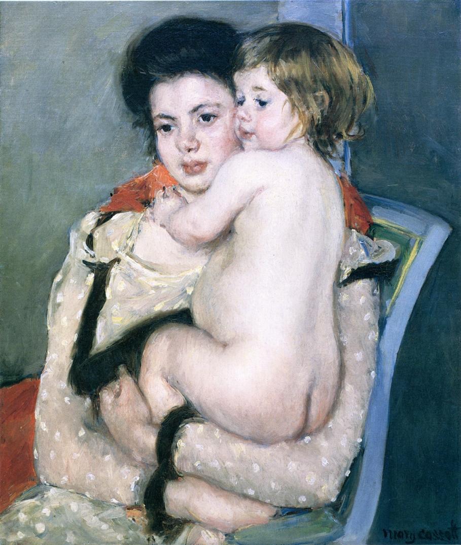 Reine Lefebvre Holding a Nude Baby 1902-1903 | Mary Cassatt | Oil Painting