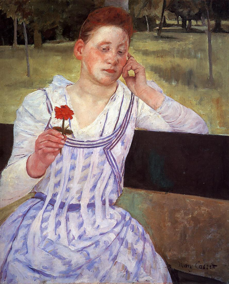 Reverie (aka Woman with a Red Zinnia) 1892 | Mary Cassatt | Oil Painting