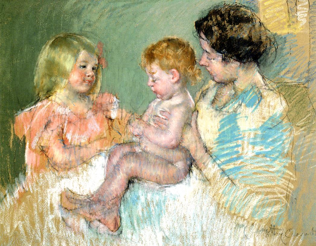 Sara and Her Mother with the Baby 1901 | Mary Cassatt | Oil Painting