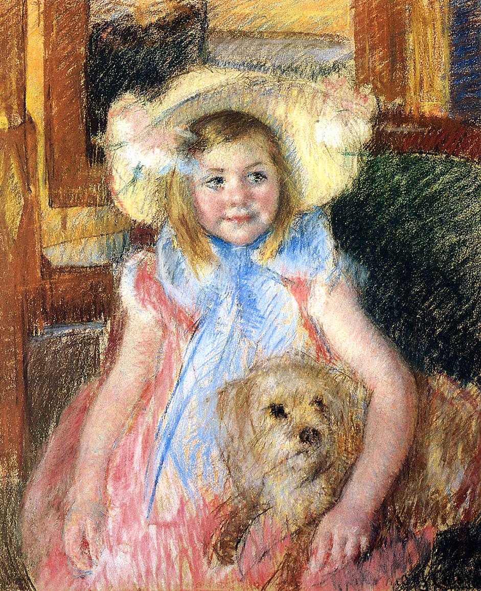Sara in a Large Flowered Hat Looking Right Holding Her Dog 1901 | Mary Cassatt | Oil Painting