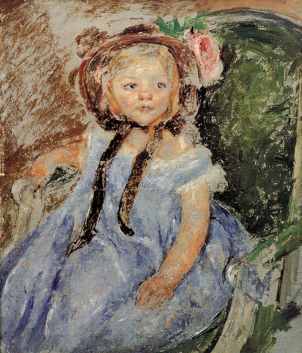 Sara in Dark Bonnet with Right Hand on Arm of Chair | Mary Cassatt | Oil Painting