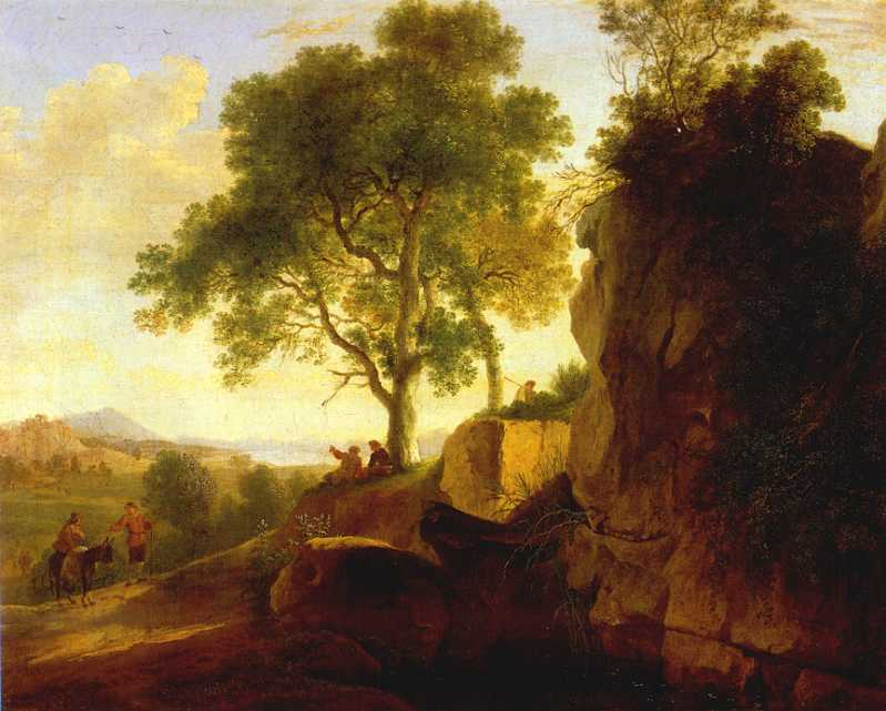 Landscape wit Tall Rocks 1643 | Herman Van Swanevelt | Oil Painting