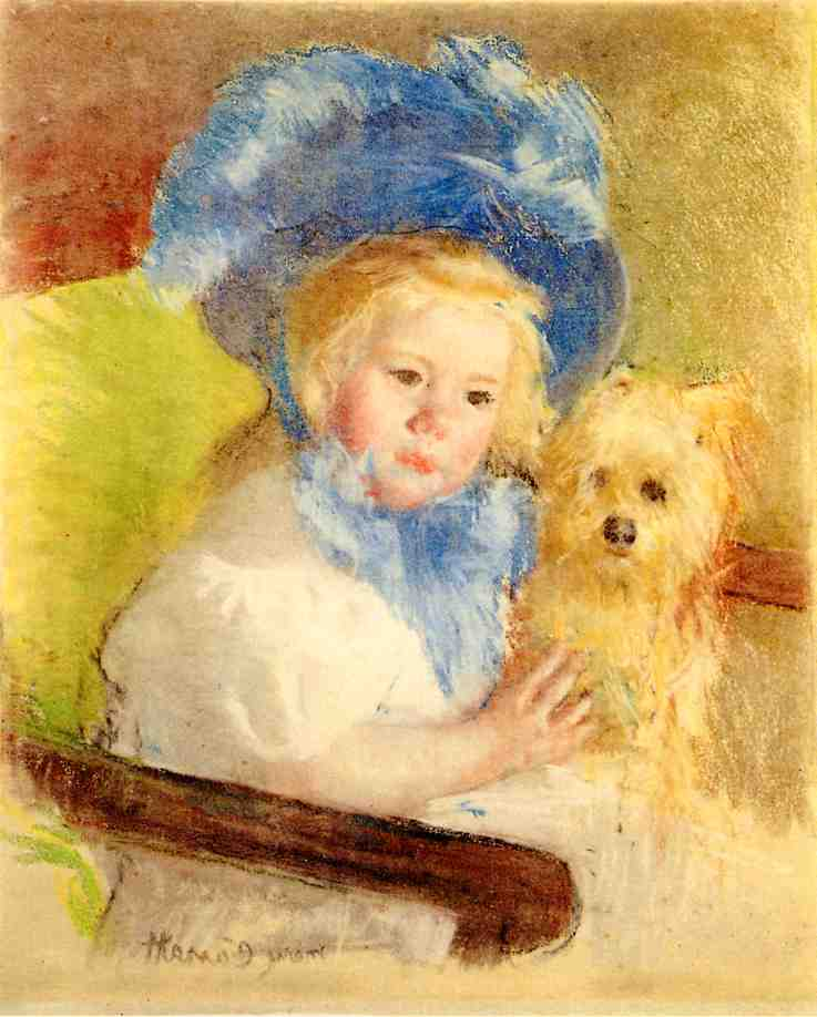 Simone in a Large Plumed Hat Seated Holding a Griffon Dog 1903 | Mary Cassatt | Oil Painting
