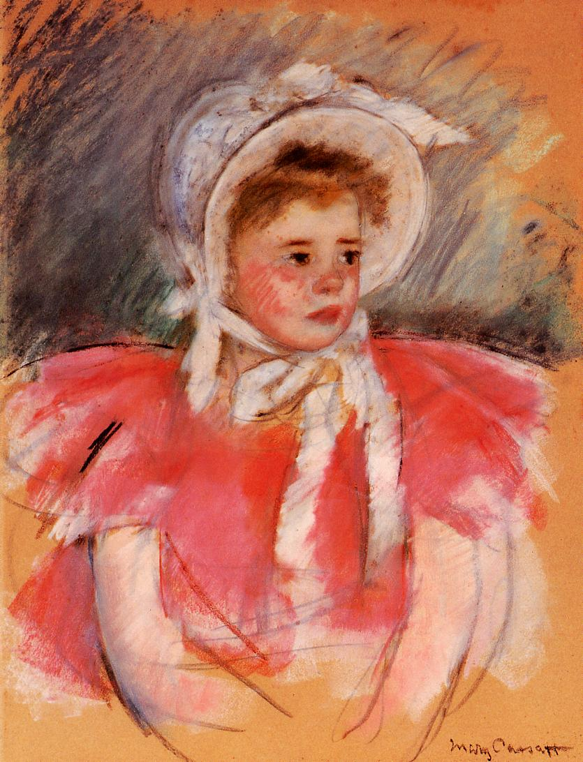 Simone in White Bonnet Seated with Clasped Hands (no.1) 1903 | Mary Cassatt | Oil Painting