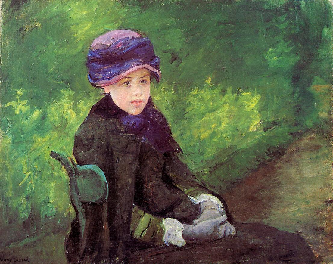 Susan Seated Outdoors Wearing a Purple Hat 1881 | Mary Cassatt | Oil Painting