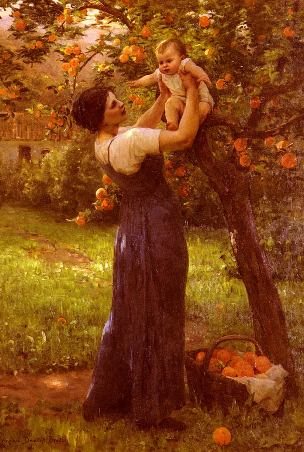 Demont-Breton Virginie Mere Et Enfant Dans Le Jardin | Hippolyte Camille Delpy | Oil Painting