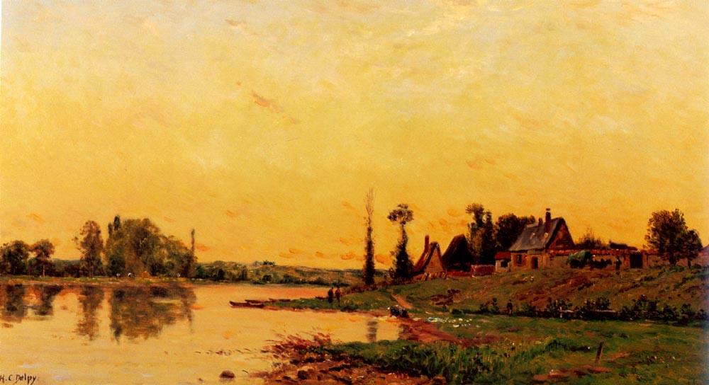 Lavandiere Pres D Un Groupe De Maiso | Hippolyte Camille Delpy | Oil Painting