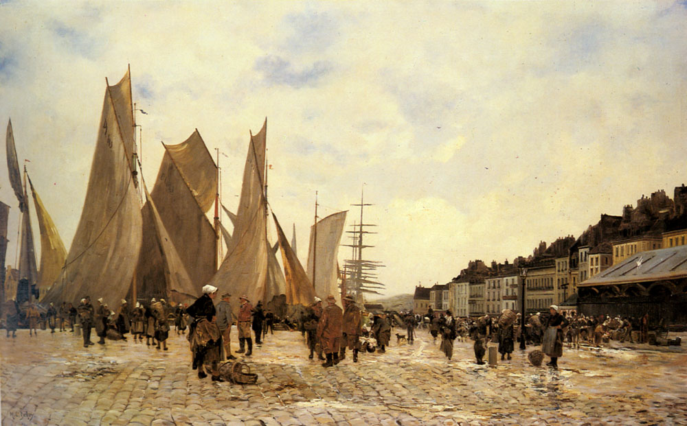 The Docks At Dieppe | Hippolyte Camille Delpy | Oil Painting