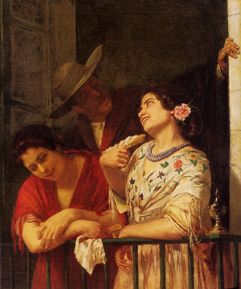 The Flirtation-A Balcony in Seville 1872 | Mary Cassatt | Oil Painting