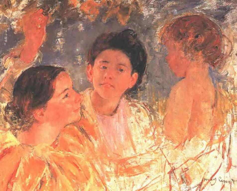 Two Young Girls with a Child 1897 | Mary Cassatt | Oil Painting
