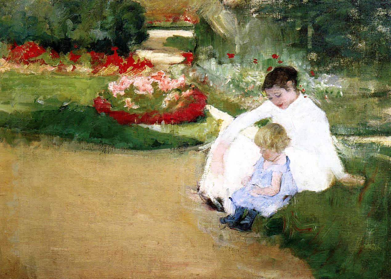 Woman and Child Seated in a Garden 1881 | Mary Cassatt | Oil Painting