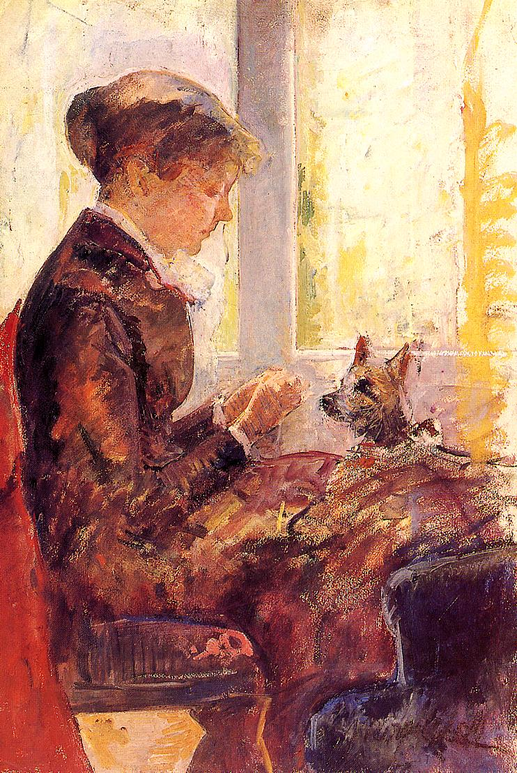 Woman by a Window Feeding Her Dog 1880 | Mary Cassatt | Oil Painting