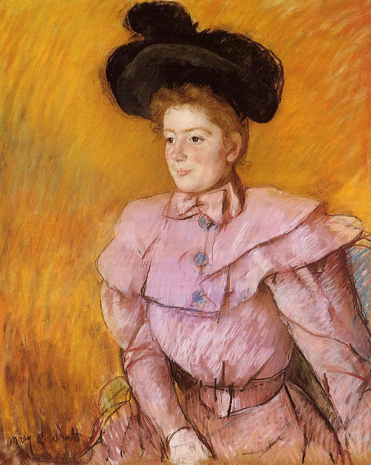 Woman in a Black Hat and a Raspberry Pink Costume 1900 | Mary Cassatt | Oil Painting