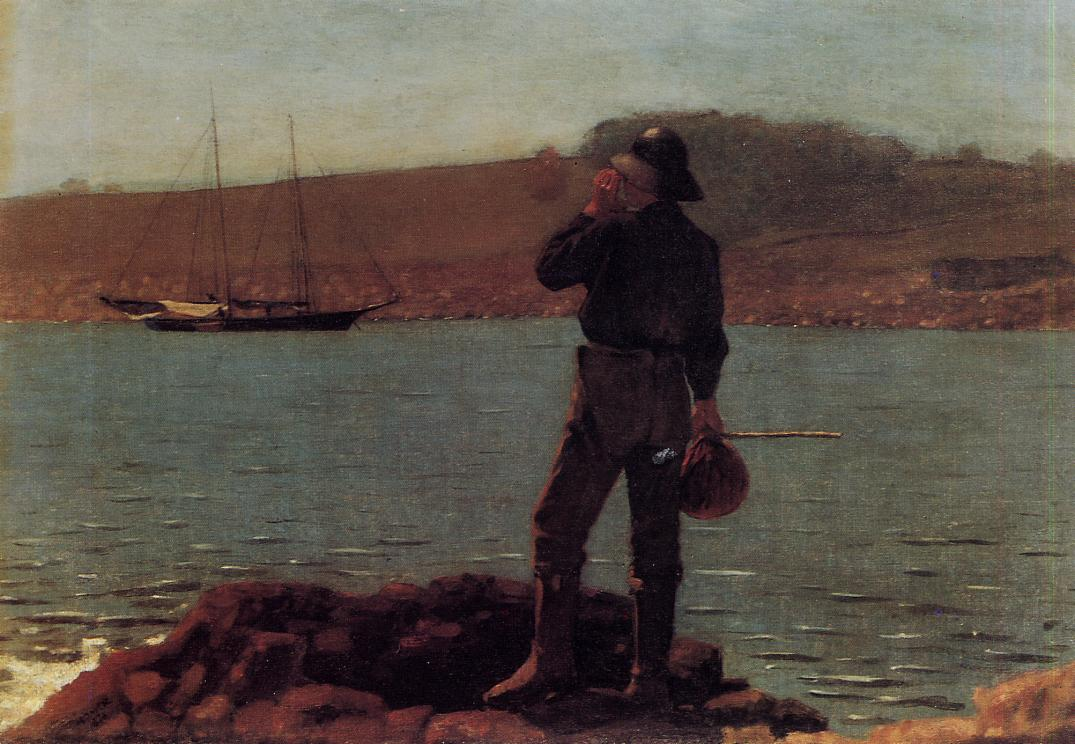 Calling the Pilot (aka Hailing the Schooner) 1876 | Homer Winslow | Oil Painting