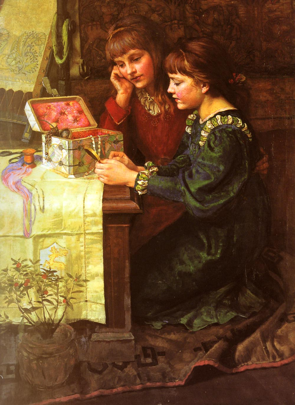 The Sewing Box   Mary L Gow   Oil Painting