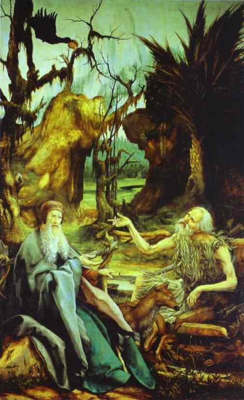 St Anthony Visiting St Paul The Hermit In The Desert 1512-15 | Matthias Grunewald | Oil Painting