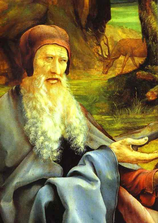 St Anthony Visiting St Paul the Hermit in the Desert detail | Matthias Grunewald | Oil Painting