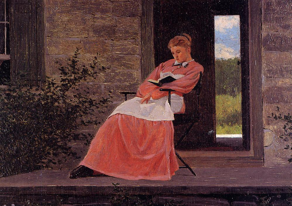 Girl Reading on a Stone Porch 1872 | Homer Winslow | Oil Painting