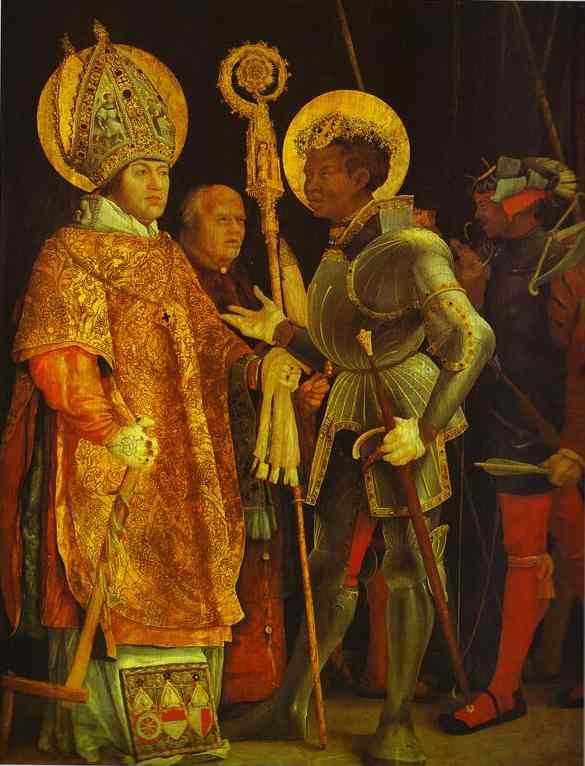 The Meeting Of St Erasmus And St Maurice 1520-1524 | Matthias Grunewald | Oil Painting